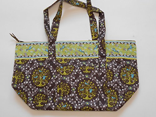 Brown and Lime Green Print Quilted Diaper Gym Weekend Bag