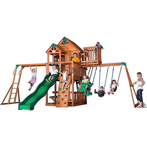 Backyard Discovery Skyfort II All Cedar Wood Swing Playset (Slides Backyard compare prices)