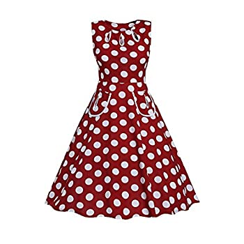 Roswear Women's Vintage 1950s Polka Dot A Line Belted Skater Dress
