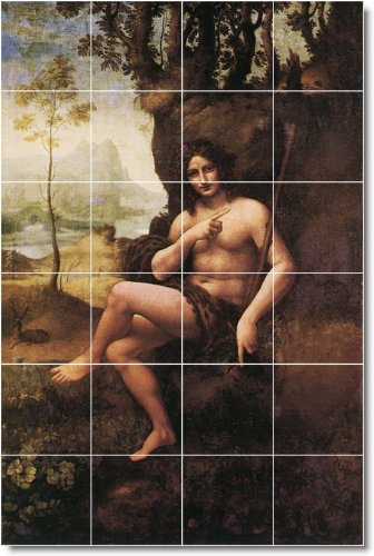 Leonardo Da Vinci Religious Bathroom Tile Mural 2. 17X25.5 Inches Using (24) 4.25X4.25 Ceramic Tiles. front-212086