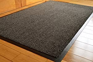 TrendMakers Barrier Mats Heavy Quality Non Slip Hard Wearing Barrier Mat. PVC Edged Heavy Duty Kitchen Mat Rug Available in 8 sizes (90cm x 150cm)-GREY w/Black Speckled from TrendMakers