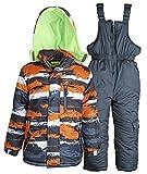 Little Chill Baby Boys Snowboard Camo Snowpants Bib and Puffer Jacket Snowsuit - Orange (24 Months)