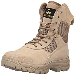 Maelstrom Men\'s LANDSHIP 8 Inch Military Tactical Duty Work Boot with Zipper, Tan, 13 M US