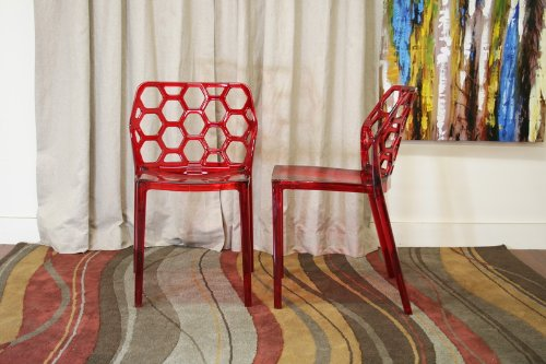 Baxton Studio Honeycomb Acrylic Modern Dining Chair, Set of 2, Red