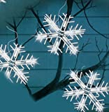 Set of 10 Clear Lighted Twinkling Snowflake Icicle Christmas Lights - White Wire