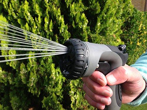 Garden Hose Nozzle Rugged Tough Long Lasting Powerful 8 Pattern Sprayer Heavy Duty Metal