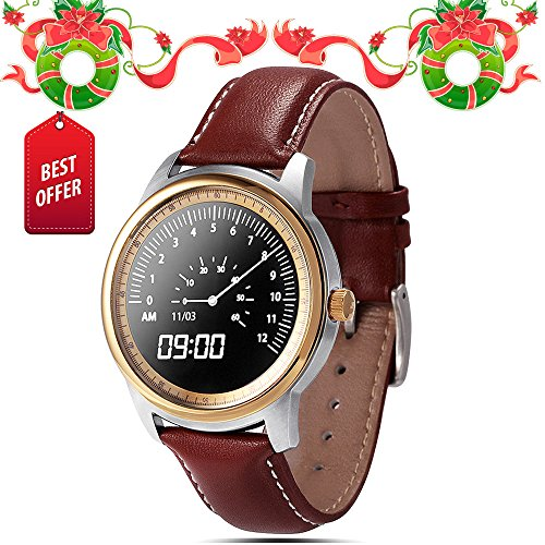 Lemfo Lem1 Smart Watch Bluetooth Smartwatch Wristwatch Full Hd IPS Waterproof Fitness Tracker Phone Mate for Android Ios (Gold)