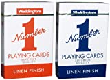 Waddingtons Playing Cards-LINEN FINISHED PLAYING CARDS RED AND BLUE