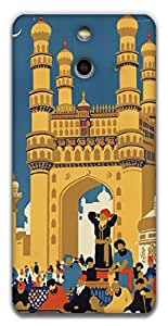 The Racoon Lean printed designer hard back mobile phone case cover for HTC One (E8). (Hyderabad)