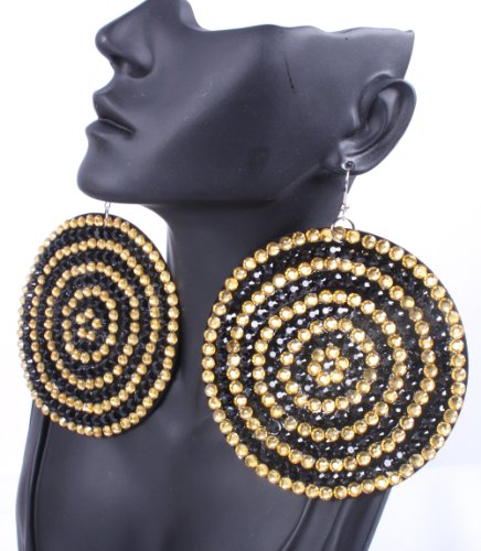 Gold with Black 3.5 Inch Circle Two-Tone Paparazzi Earrings Iced Out Light Weight Basketball Wives