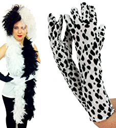 Ladies Evil Dog Lady Halloween Fancy Dress Costume Set Ideal For Cruella De Vil Black White Wig + Dalmation Gloves + Feather Boa