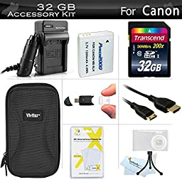 32GB Accessories Kit For Canon PowerShot SX260 HS, SX280 HS, SX280HS, S120, D30 Digital Camera Includes 32GB High Speed SD Memory Card + Extended Replacement (1200 maH) NB-6L Battery + AC/DC Charger + Mini HDMI Cable + USB Reader + Case + Mini Tripod ++
