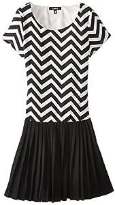 ZUNIE Big Girls' Chevron Striped Dress with Pleated Skirt, Black Stripe, X-Large/16