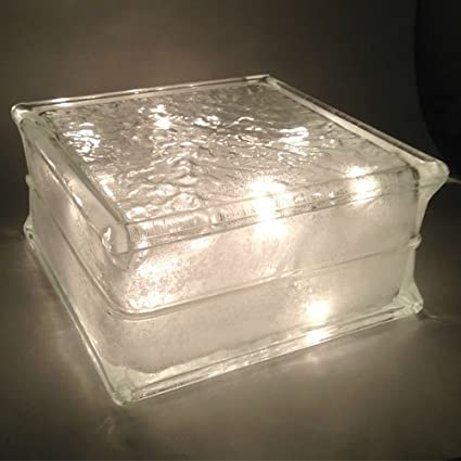 Glass Block with Clear Christmas Lights