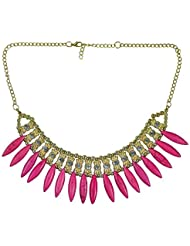 "DIOVANNI ""Miss Pink Diva, Golden Tresses"" Statement Necklace"