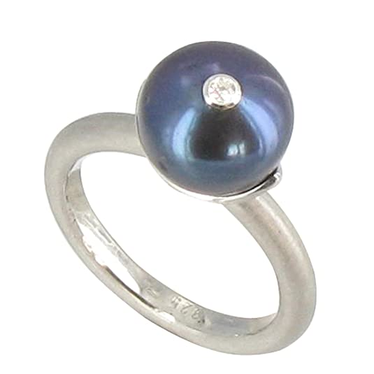 Les Poulettes Jewels - Rhodium Sterling Silver Ring with its Dyed Dark Grey 11 mm Cultured Freshwater Pearl - size 8.50
