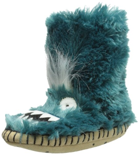 Hatley Little Boys' Fuzzy Fleece Slippers-Ice Monsters, Blue, Small/5-7 front-898034