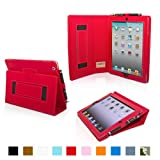 Snugg iPad 2 Case - Leather Case Cover and Flip Stand with Elastic Hand Strap and Premium Nubuck Fibre Interior (Red) - Automatically Wakes and Puts the iPad 2 to Sleep. Superior Quality Design as Featured in GQ Magazine