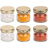 Pure Source India Small Glass Jar Set Of 6 Pcs Coming With Metal Golden Color Air Tight And Rust Proof Cap , Capacity 20 Gram About Made In India .