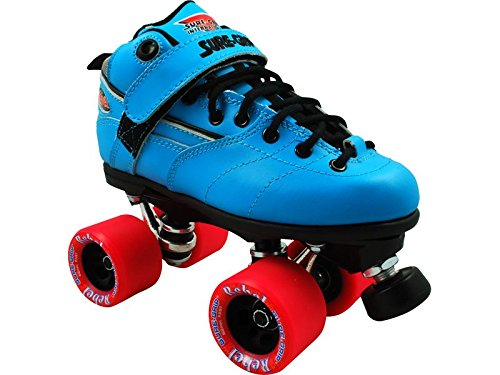 Sure-Grip Quad Speed Skates Lt. Blue Boot w/ Black laces Sure Grip Rebel Black Wheels roller skates white with green led lighting wheels double line skates adult 4 wheels two line roller skating shoes patines