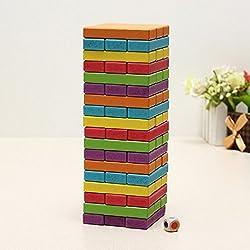 Kidsgenie 48 Blocks + 1 Dices Children Wooden Tumbling Stacking Jenga Tower Block Board Game