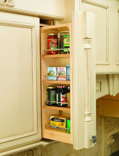 Rev-A-Shelf 432-WF39-6C 39 Inch Tall 6 Inch Wide Wall Filler Pull Out Organizer, Natural Wood