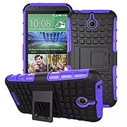 For HTC Desire 510, Urvoix(TM) Hybrid Heavy Duty Dual Layer Shock Proof Rugged Shell Grenade Grip Tyre Textured Kickstand Case Cover Purple