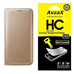 Avzax Premium Leather Flip Wallet Case Cover for Samsung Galaxy E7 (Gold) with Tempered Glass