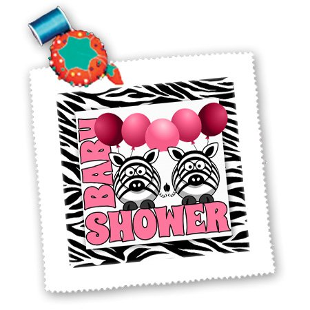 Qs_173046_4 Doreen Erhardt Baby Designs - Twins Girls Zebra Print Baby Shower Jungle Theme In Pink - Quilt Squares - 12X12 Inch Quilt Square front-236179