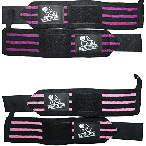 Nordic Lifting Unisex Wrist Wraps for Weightlifting, 2 Pairs/4 Wraps, Black/Pink & Black/Purple