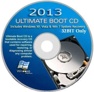 2013 ULTIMATE BOOT CD / AUTOMATIC WINDOWS SYSTEM RECOVERY for XP, VISTA & WINDOWS 7 (32BIT SYstems)