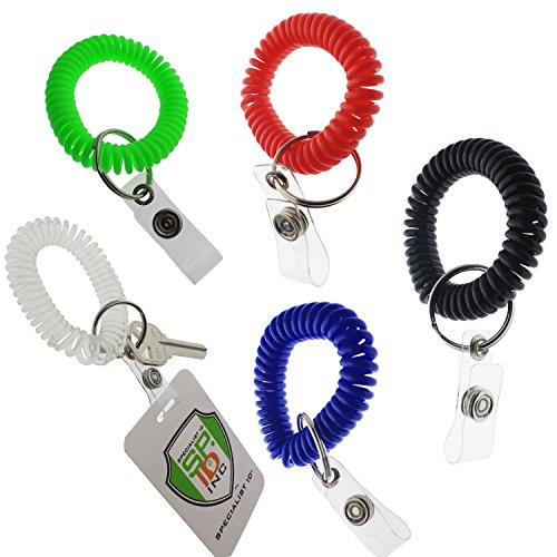 5 Pack - Ultimate Wrist Coil Camper Keychains for Work and Play - Premium Elastic Bungee Badge Holder & Key Chain Ring (One Size Fits All) by Specialist ID (Assorted Colors) (Coil Wrist Strap compare prices)
