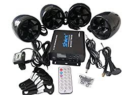 Shark Shkc7800 1400 Watt 4.1 Ch Motorcycle Audio System w/ 2 Remotes, Fm, Sd, Usb , Bluetooth Subwoofer Input Black