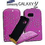 Glitzer Flipstyle Handytasche mit Hartschale für Samsung Galaxy Y S5360 mit Magnetverschluss + Aufkappfunktion Pink