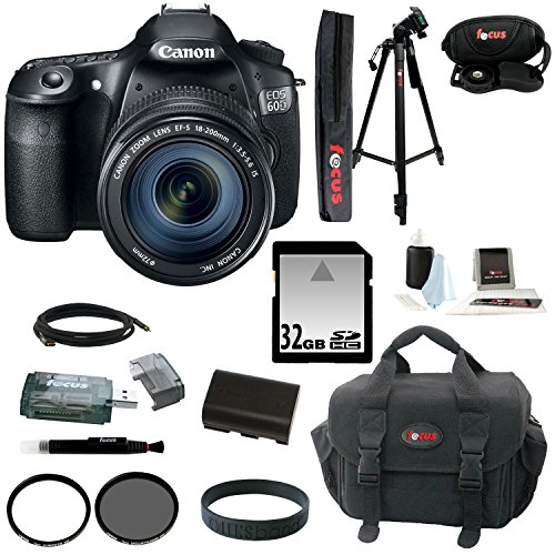 Canon Eos 60D Dslr Camera Kit With Canon Ef-S 18-200Mm Is Lens Plus Lens Filter Bundle And 32 Gb Deluxe Accessory Kit