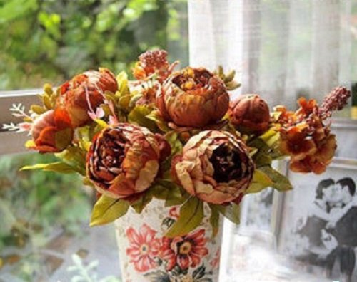 1 Bouquet Decoration Artificial Bridal Peony Silk Flowers Fake Leaf for Home Wedding Party Home Decor Craft Tables Office Coffee Shop Garden Plants NO Vase (Coffee)