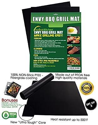iPerfect Kitchen Envy BBQ Grill Mat - Set of 2 Mats - 100% Non-stick - Reusable - Dishwasher Safe