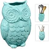 MyGift® Aqua Blue Owl Design Ceramic Cooking Utensil Holder / Multipurpose Kitchen Storage Crock