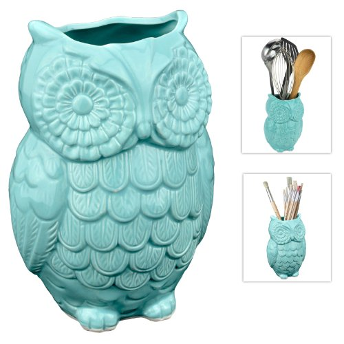 Owl Design Ceramic Cooking Utensil Holder / Multipurpose Crock - Aqua Blue front-592033