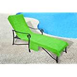 Pool Side 1000-Gram Chaise Cover, Pool lounge Chair Cover with 10-Inch Slip-on Back and Side Pocket Green