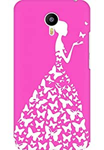 AMEZ designer printed 3d premium high quality back case cover for Meizu M2 Note (bright pink white girl princess)