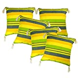 Belive-Me Cotton Green-Yellow With Tassels Cushion Covers (12X12 Inches) Set Of 5