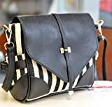New Fashion Korean Lady Women Black and White PU Leather Vintage Single Handle Satchel Handbag Purse Hobo Tote Bag