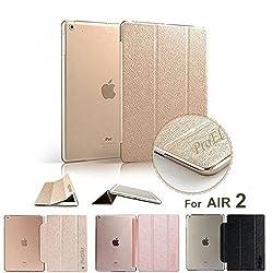 ProElite(TM) Premium Flip Case cover for Apple iPad Air 2 (iPad 6) Tablet (Gold) (Sleep/Wake)