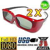"""#4: 2 Stück 3D Brillen """"RED CARPET"""" von Vidimensio für 3D DLP LINK Projektoren (USB aufladbar)"""