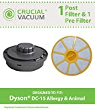 Dyson DC15 Pre Filter, Post Filter & Cover, Part # 908561-02, 910471-02, Designed & Engineered by Crucial Vacuum