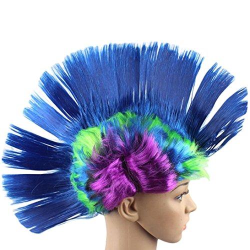 Sunward Fashion Unisex Punk Mohawk Mohican Hairstyle Cockscomb Hair Human Wig Hallowmas Masquerade Hair Wig (Blue)