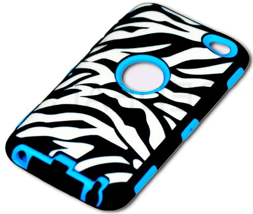 Mylife Bright Blue + Black Zebra Stripes Hybrid Survivor (Built In Screen Protector) Case For Ipod 4 (4G) 4Th Generation Itouch (Durable Body Armor Defender Glove + Soft Flexible Shockproof External Gel + Hard Internal 2 Piece Snap Guard)