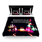 "Kess InHouse Ingrid Beddoes ""Road Trip"" Neon Black Twin Woven Duvet Cover, 68 by 88-Inch"