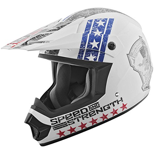 Speed and Strength Dogs of War Full Face SS2400 Motorcycle Helmet (Red/White/Blue, Medium)